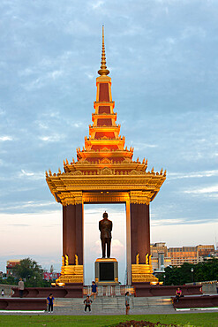 Statue of King Norodom Sihanouk in Phnom Penh, capital city of Cambodia, Indochina, Southeast Asia, Asia