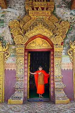 A young Buddhist monk at the doors of a Buddhist temple, Luang Prabang, Laos, Indochina, Southeast Asia, Asia