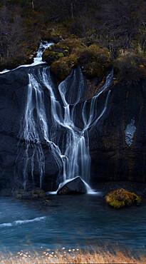Hraunfossar river flowing from lava fields, Iceland, Polar Regions