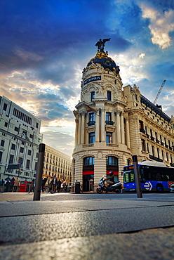 The famous Metropolis Building (Edificio Metropolis) located at Gran Via, Madrid, Spain, Europe