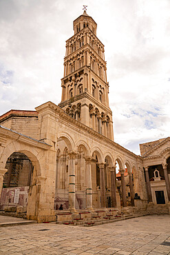 Saint Domnius Bell Tower in old historic downtown Split, Croatia.
