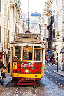 Traditional Tram in Lisbon on the urban streets, Lisbon, Portugal, Europe