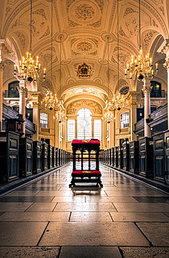 Architecture and roof including pews and window, St. Martin-in-the-Fields Church interior, Trafalgar Square, London, England, United Kingdom, Europe - 1328-9