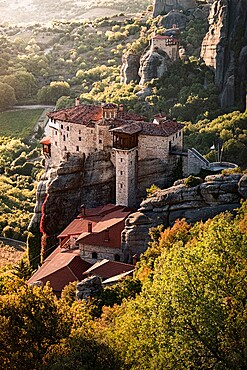 Sunset on Agios Nikolaos monastery, Meteora, UNESCO World Heritage Site, Thessaly, Greece, Europe