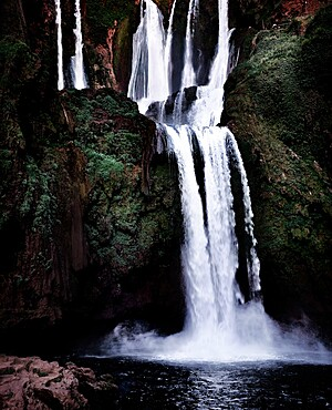 Ouzoud waterfall after sunset, Ouzoud, Morocco, North Africa, Africa