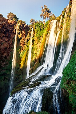 Ouzoud waterfall at sunset, Ouzoud, Morocco, North Africa, Africa