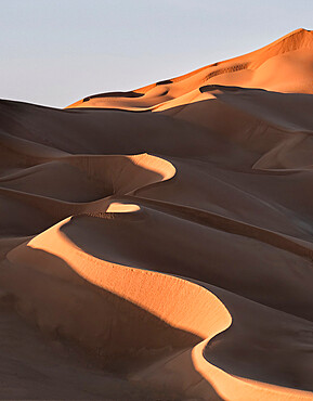 Sand dunes at sunset in the Rub al Khali desert, Oman, Middle East