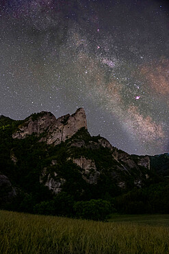 Milky Way above Sassi di Roccamalatina rocks, Emilia Romagna, Italy, Europe