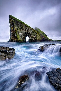 Drangarnir is the most famous natural arch of the whole Faroe Island, Faroe Islands, Denmark, Europe