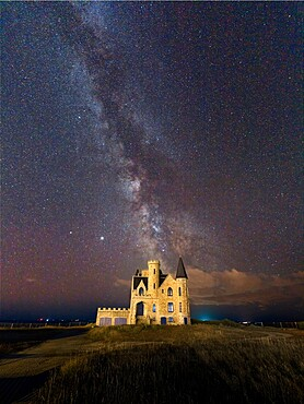 Milky Way above the castle, Quiberon, Brittany, France, Europe