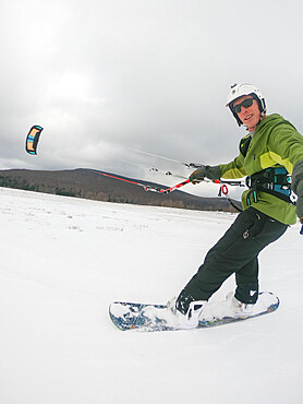Photographer Skip Brown snow kiting in Canaan Valley, WV USA. MR