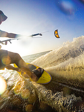 Photographer Skip Brown goes fast on his kiteboard - Nags Head NC USA. MR