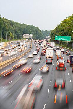 Rush hour traffic on the Washington DC Capitol Beltway near Bethesda, Maryland