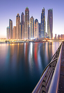 Sunrise in Dubai Marina, Dubai, United Arab Emirates, Middle East