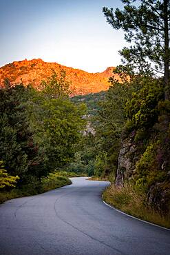 Road in a mountain landscape at sunset golden hour in Geres National Park, Norte, Portugal, Europe