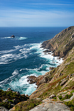 Cape finisterre landscape with atlantic ocean on a sunny day in Galicia, Spain