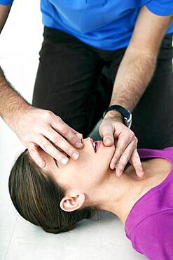 First aid techniques : mouth-to-mouth resuscitation.
