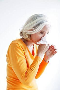 Elderly person with rhinitis