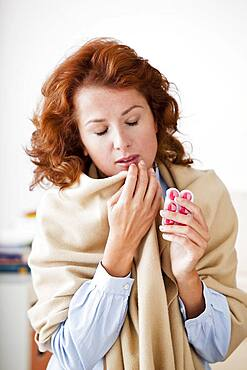 Coughing treatment woman