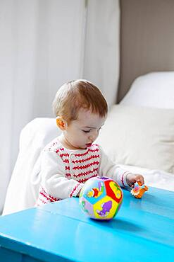 Child playing indoors