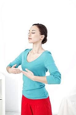 Woman breathing