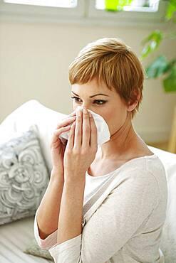 Woman  with rhinitis