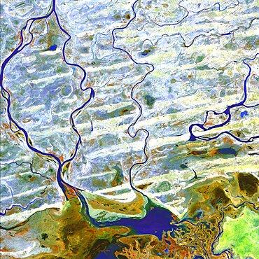 Saharan desert rivers, satellite image