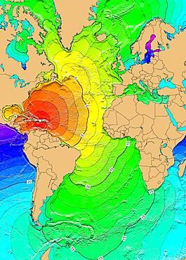 Tsunami Map, Puerto Rico Earthquake, 1918