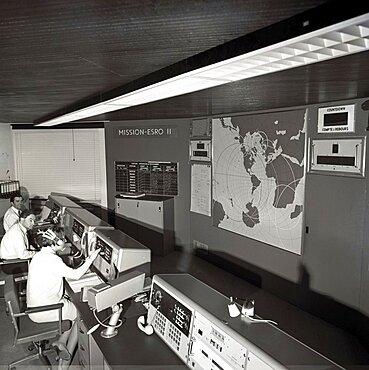 ESRO-2 satellite control room, 1968