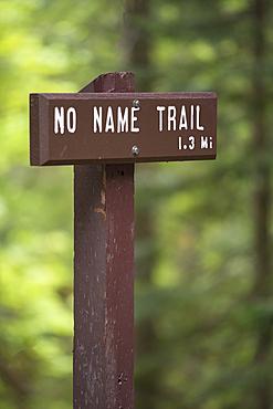 No Name Trail sign, Oregon Caves National Monument, Oregon.