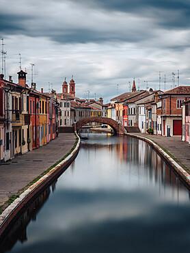 One of the main canal streets in Comacchio, the Venice of the province of Ferrara, Comacchio, Emilia Romagna, Italy, Europe