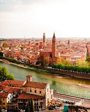 View of Verona's cityscape, UNESCO World Heritage Site, from Castel San Pietro, Verona, Veneto, Italy, Europe