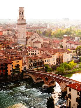 View of Ponte Pietra from Castel San Pietro, Verona, Veneto, Italy, Europe