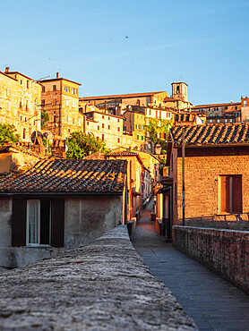 The Roman aqueduct of Perugia at sunset, one of the main attractions of the old town, Perugia, Umbria, Italy, Europe