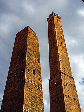 The Two Towers in Bologna, Emilia Romagna, Italy, Europe at sunset