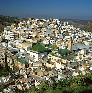 Aerial view over the green tiled roofs of the sacred city of Moulay Idriss, including the tomb and Zaouia of Moulay Idriss, Morocco, North Africa, Africa