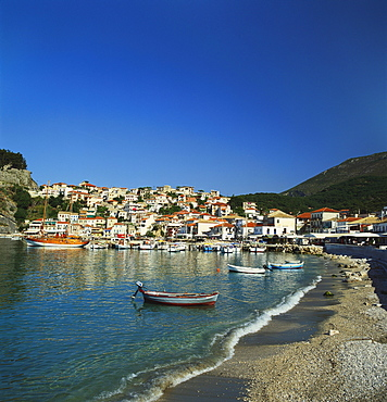 Boats Moored at the Bay in Parga, Epirus, Greece