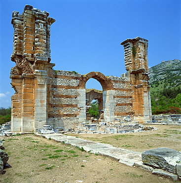 Ruins of gateway and wall in the town built for Octavia over the assassins of Julius Caesar in 42 BC, at Philippi (Filipi), Greece, Europe