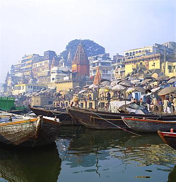 Boats Moored in Front of Ghats on the River Ganges, Varanasi, Uttar Pradesh, India