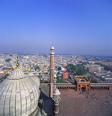 Cityscape and Jama Masjid, Delhi, India