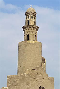 The minaret of the Ibn Tulun Mosque, UNESCO World Heritage Site, Cairo, Egypt, North Africa, Africa