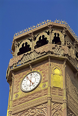 The clock tower of the Muhammad Ali Mosque, Cairo, Egypt, North Africa, Africa
