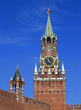 The Spasky Tower and clock in Red Square, Moscow, Russia, Europe