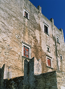 Close-up of old walls of houses on Naxos, Cyclades, Greek Islands, Greece, Europe