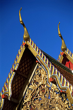 Wihan roof detail, Wat Pho, Bangkok, Thailand, Southeast Asia, Asia
