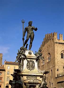Statue on Fountain of Neptune, Bologna, Emilia-Romagna, Italy, Europe