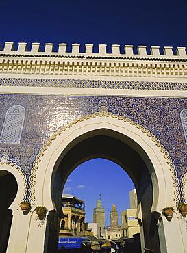 Bab Boujeloud (Bab Bou Jeloud), Blue Gate, Fes (Fez), Morocco