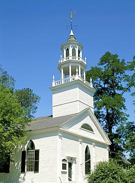 Church steeple, Castine, Maine, New England, United States of America, North America