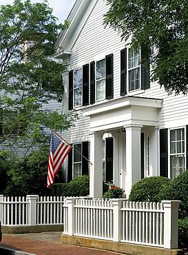 Traditional white clapboard houses, Edgartown, Martha's Vineyard, Massachusetts, New England, United States of America, North America
