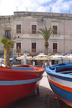 Fishing boats, Lipari Town, Lipari Island, Aeolian Islands (Eolian Islands), Italy, Mediterranean, Europe